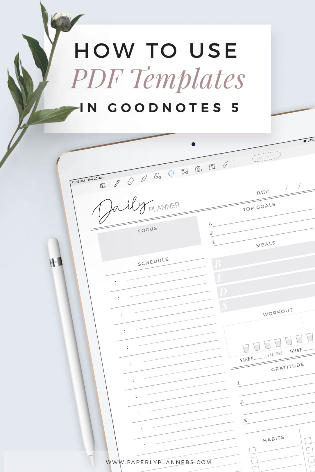 How to use PDF template in Goodnotes 5 App
